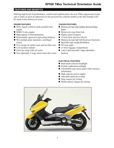 Yamaha XP500 TMAX Technical Orientation Guide.pdf (page 1 of 45)